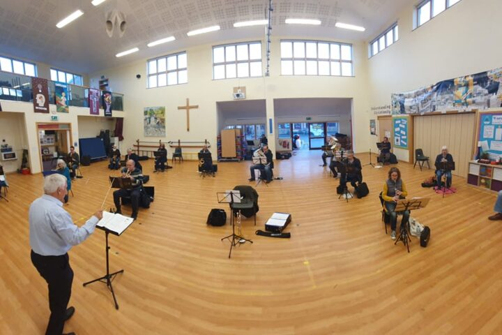 Ashford Concert Band rehearsal together with social distancing in place
